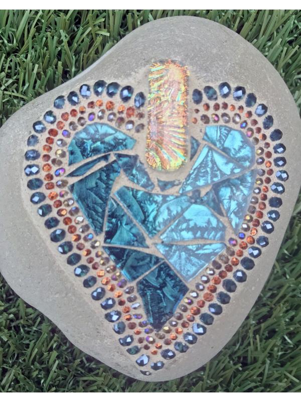 Blue and Copper Mosaic Heart Beach Rock