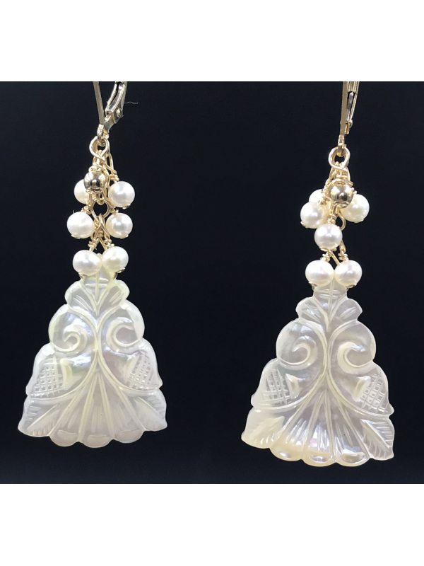 Carved Mother of Pearl Earrings with Akoya Pearls