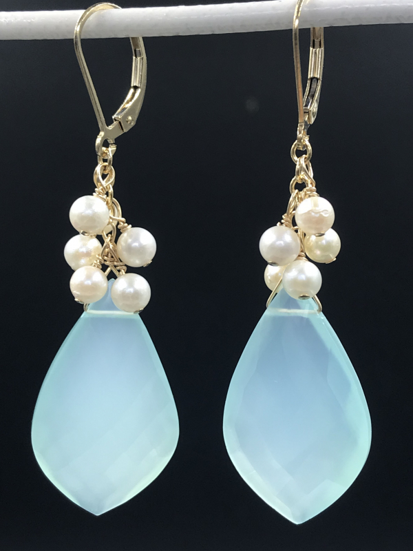 Chalcedony and Akoya Pearl Goldfilled Earrings