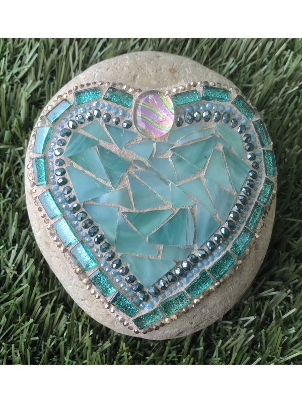 Teal Ocean Hues Mosaic Heart Beach Rock