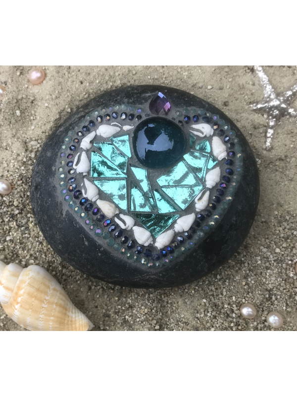 Beachy Teal and Shell Mosaic Garden Rock