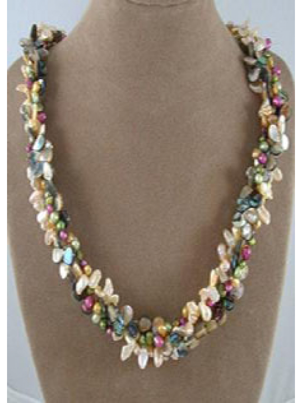 Pearl and Abalone Woven Lei Necklace