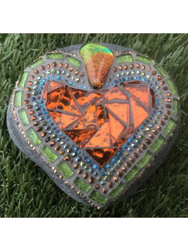 Bright and Shiny Mosaic Heart Rock