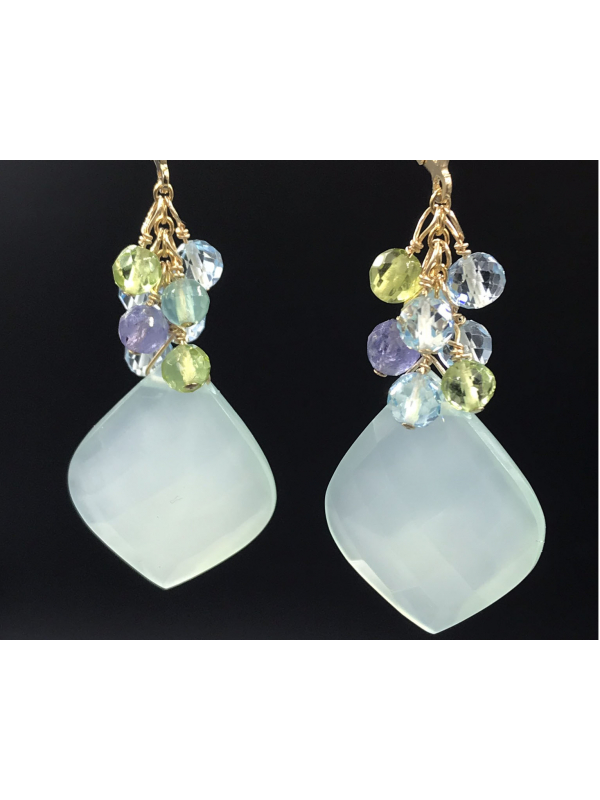 Chalcedony Drop Earrings with Gemstones