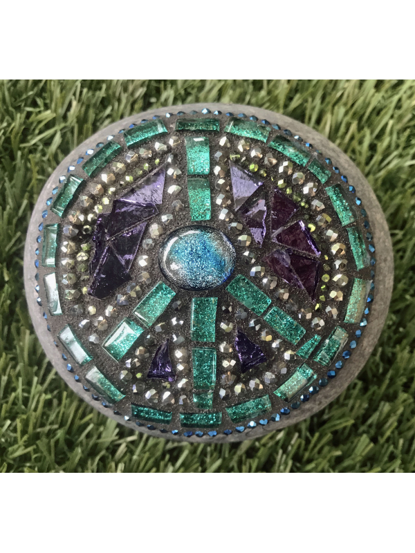 Teal and Purple glass and crystal Peace Sign Rock