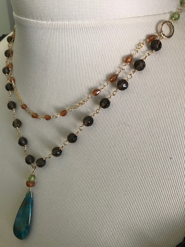 Chrysocola, Hessonite Garnet, Smoky Quartz and Peridot double drop Necklace