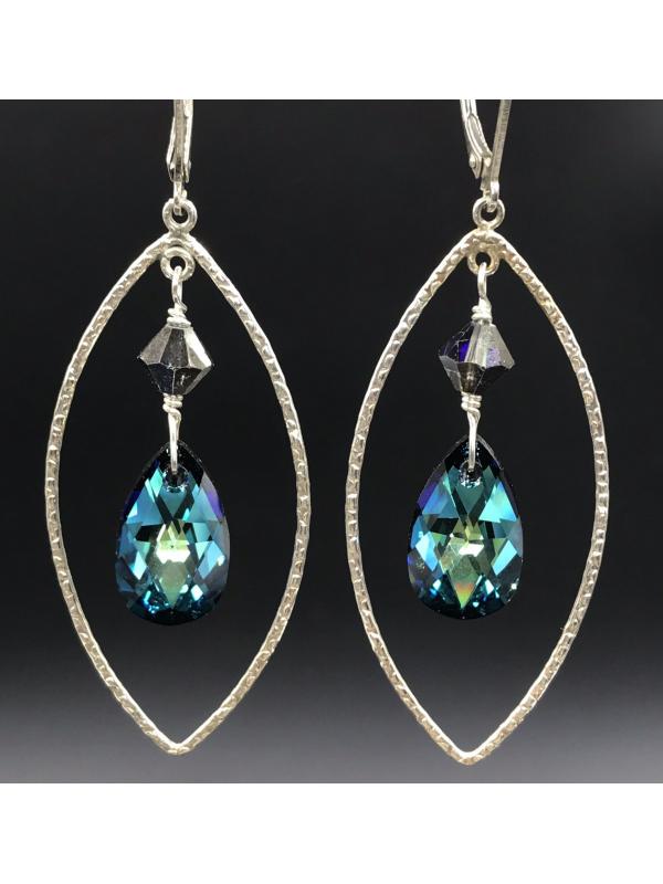 Bermuda Blue Framed Drop Earrings