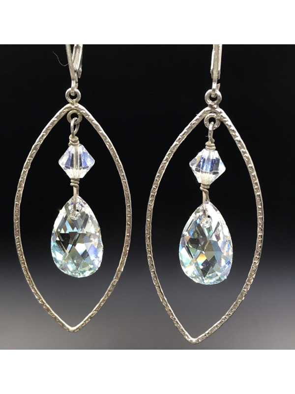 Marquis shaped Sterling silver frames with Crystal teardrop Earrings