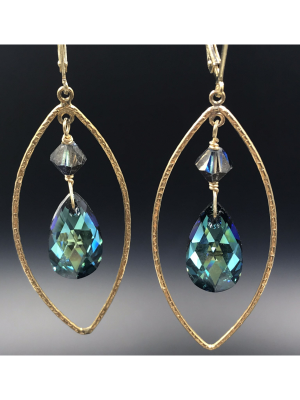 14K Gold fill Marquis Earrings with Bermuda Blue Crystal Teardrop