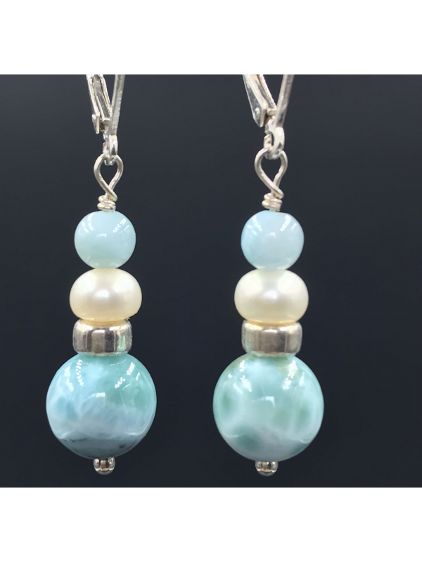 Pretty Larimar with a Freshwater Pearl.