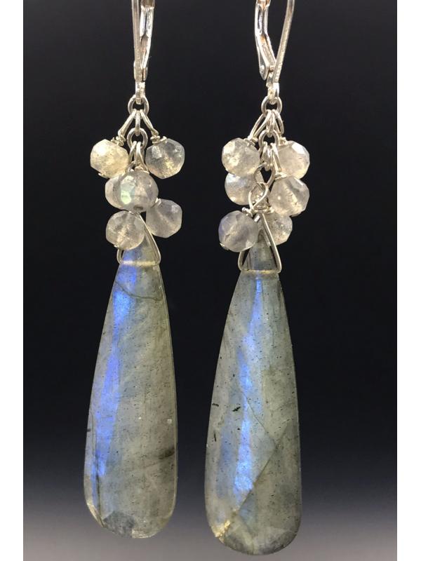 Blue flash Labradorite Earrings