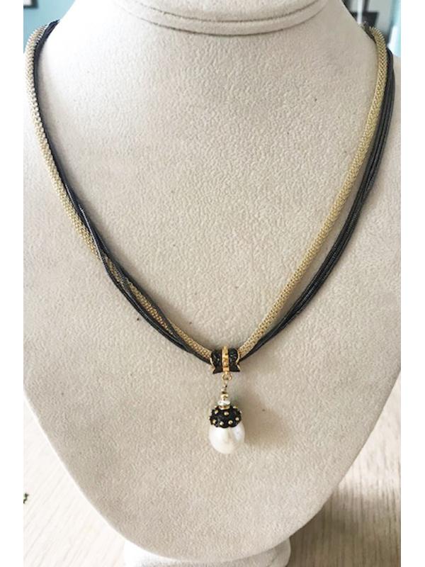 Large Pearl Drop,14K Vermeil and Gunmetal Necklace