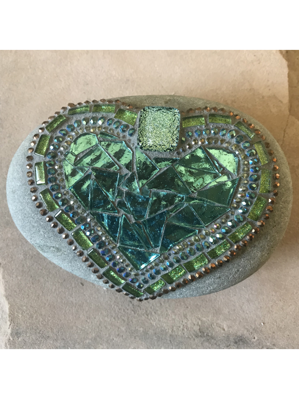 Soft Green and Blue Heart Mosaic