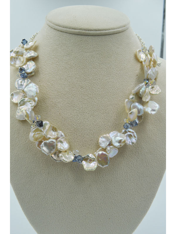 Keshi Pearl and Swarovski Crystal Necklace