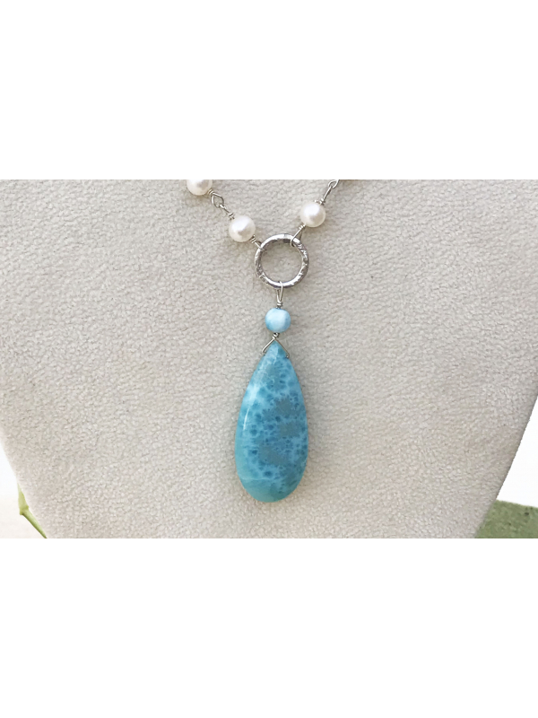 Larimar and Sterlng silver link pendant