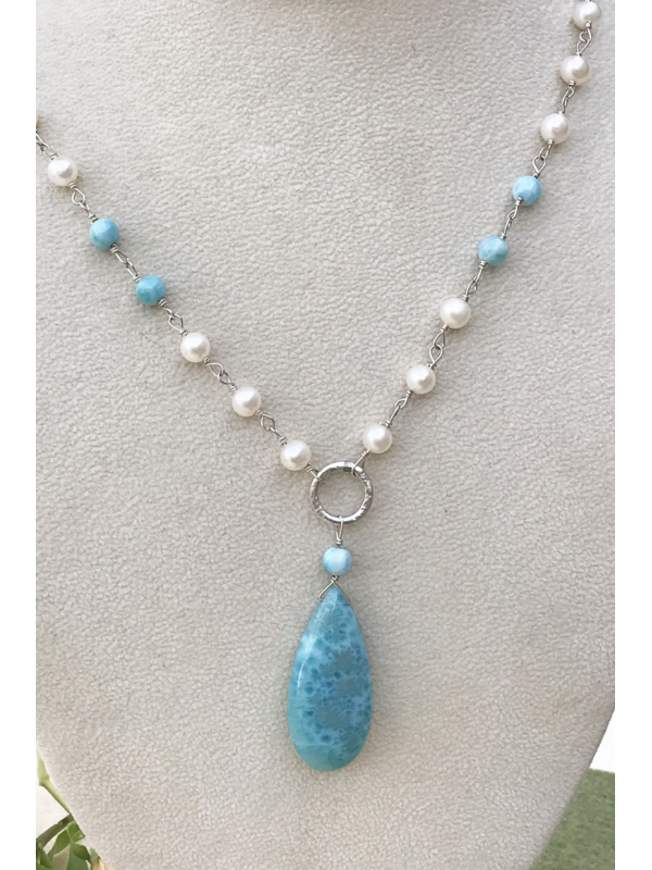 Larimar and Sterling Silver wrapped Freshwater Pearl Necklace