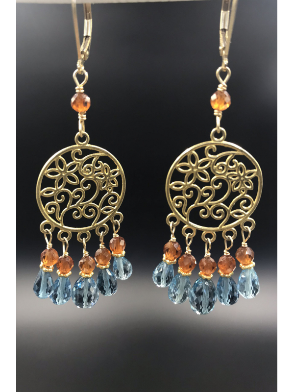 London Blue Topaz, Hessonite Garnet Chandelier Earrings