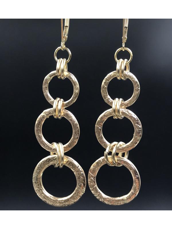 14K Gold Filled Three Link Earrings