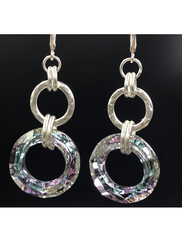 Handwrought Sterling Silver and Crystal Earrings