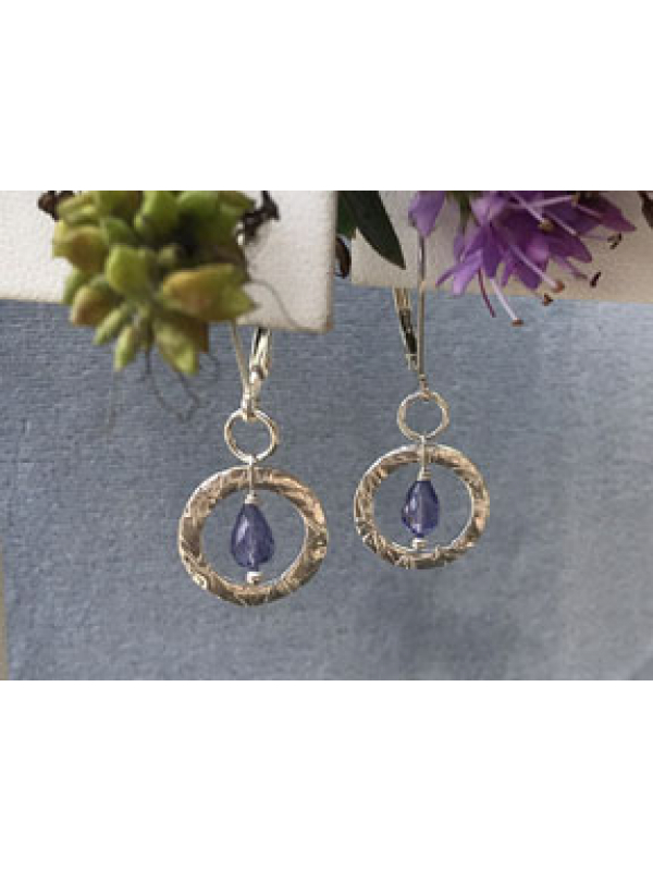 Small Silver Handforged Link with Tanzanite Briolette Drop Earrings