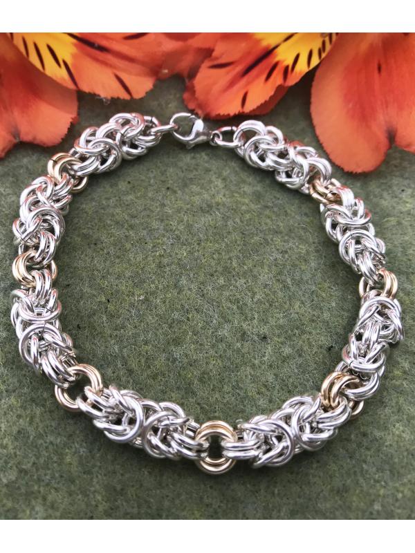 Sterling Silver and 14K Gold fill Byzantine Bracelet