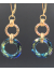 Handwrought 14K Gold Fill Link and Bermuda Blue Crystal Oval Earrings