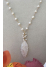 Carved Mother of Pearl Marquis Pendant on Pearl Necklace