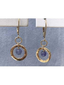 Petite Handwrought Gold Link with Tanzanite Drop Earrings