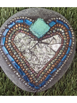 Teal and Silver Mosaic Heart Rock
