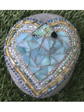 Soft Summer Colors Mosaic Heart Rock