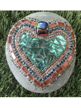 Bright Mosaic Heart rock for your Garden