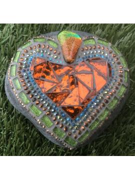 Bright and Shiny Mosaic Heart Rock