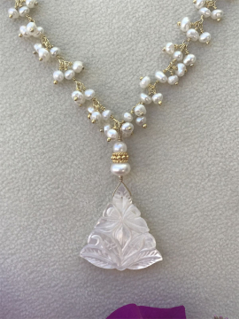 Carved Mother of Pearl Triangle Pendant Necklace