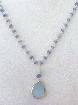 Chalcedony Druzy Pendant on Tanzanite Beaded Chain Necklace
