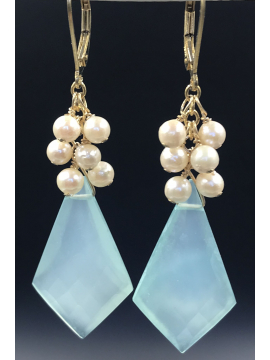 Chalcedony Shield with Akoya Pearls Earrings