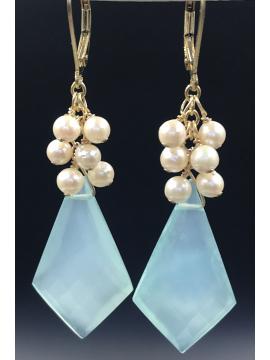 Chalcedony Shield with Akoya Pearls Earrings