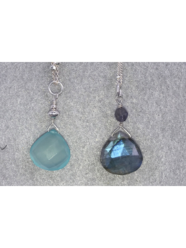 Simple Chalcedony or Labradorite Necklaces
