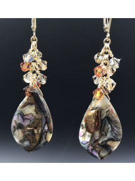 Abalone and Crystal Drop Earrings