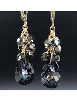 Silver Night Confetti Crystal Drop Earrings