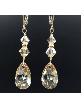 Golden Shadow Crystal Drop Earrings