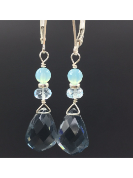 London Blue Topaz and Swiss Blue Topaz Drop Earrings