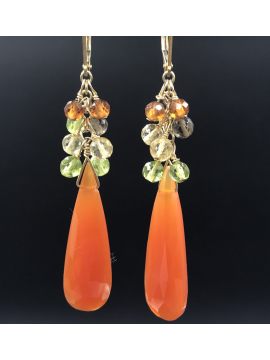 Carnelian Drop earrings with Citrine, Peridot and Smoky Quartz