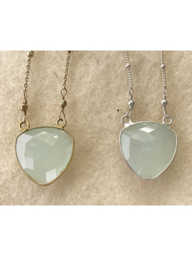 Chalcedony Shield Pendant on Silver or 14K  Gold Vermeil Chain