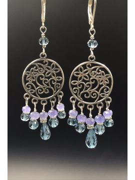 London Blue Topaz and Tanzanite Chandelier Earrings