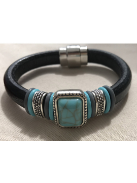 Italian Leather cuff with a Turquoise resin centerpiece