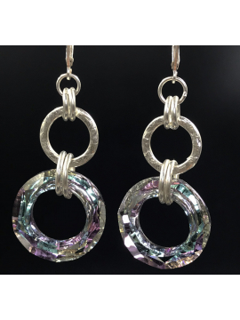 Sterling Silver Handwrought Link and Vitrail Crystal Link Earrings