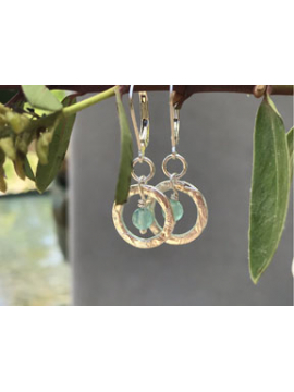 Handwrought 14K Gold fill link with Aqua Chalcedony Drop Earrings