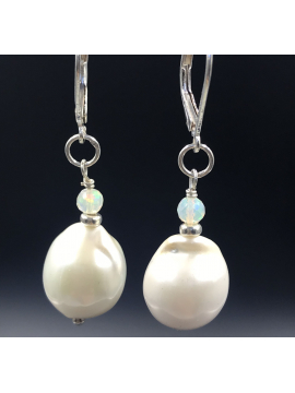 Medium Baroque Pearl with Opal Earrings