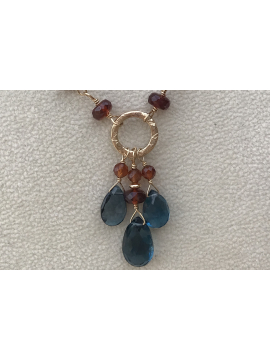 Triple London Blue Topaz and Hessonite Garnent Necklace