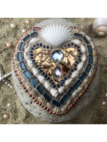 Blue Silver and Gold Beachy Mosaic Heart Rock #22